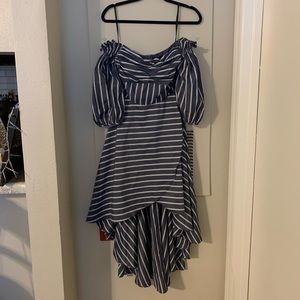 Cinched high-low dress